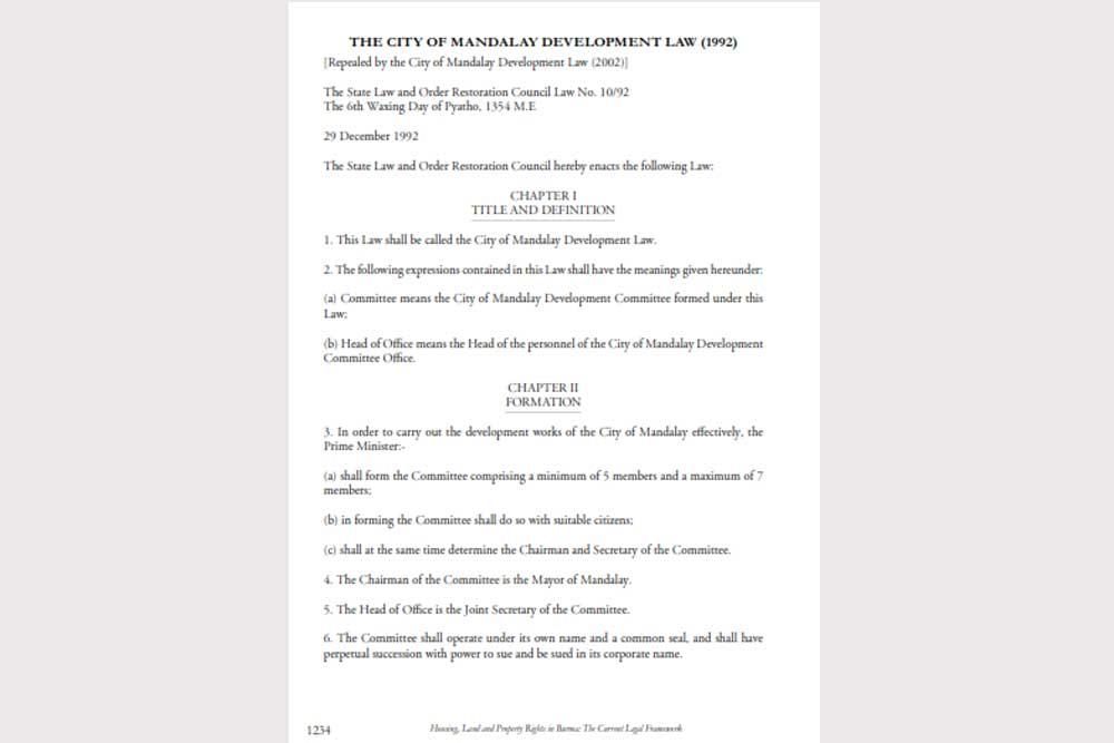 The City of Mandalay Development Law_Eng (29 Dec 1992)