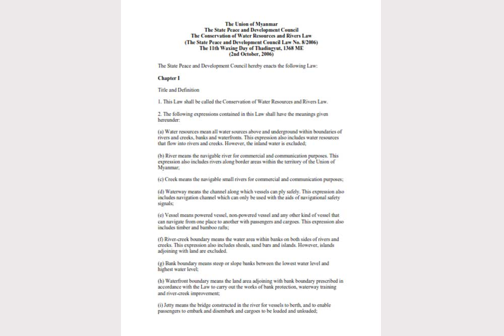 The Conservation Of Water Resources And Rivers Law_2006